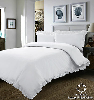 New White Plain Frilled Edge Duvet Set Bedding Set Quilt Cover Pillow Case