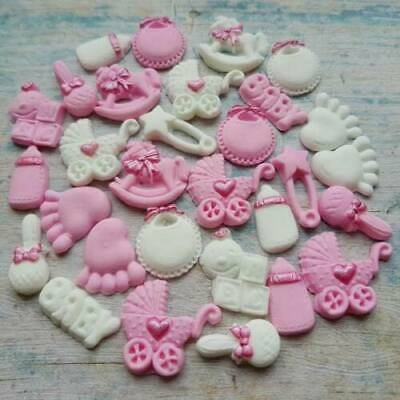 30 Edible sugar decorations baby shower christening cake cupcake toppers