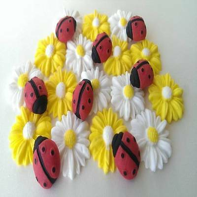 Edible sugar daisies flowers blossoms ladybugs ladybirds cake cupcake toppers