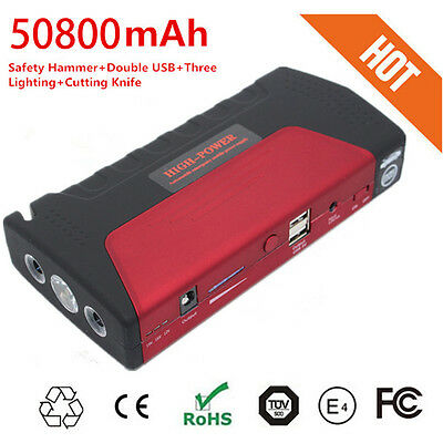 AU 50800mAh Power Bank AUTO Car Jump Starter 2 USB Vehicle Mini Booster Charger
