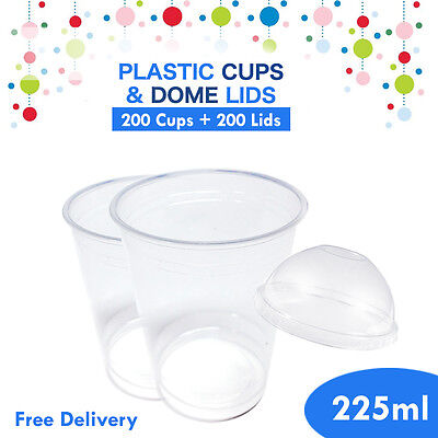 Disposable Plastic Clear Cups With Dome Lids 200pc 225ml Drinking Water Cup Bulk