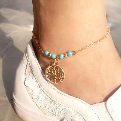 Fashion Women Gold Silver Turquoise Tree Of Life Charm Anklet Beach Foot Sandal