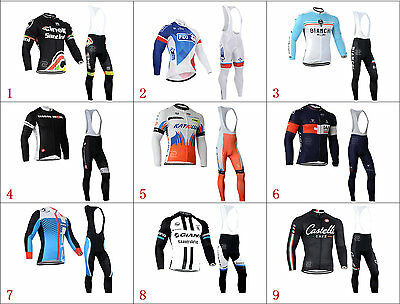 Men's New Sport Cycling Winter Thermal Fleece long sleeve jersey Bib Pants Kits