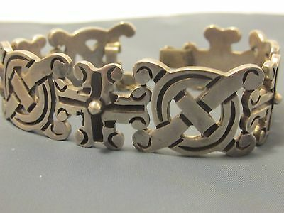 Vintage Taxco Mexico Sterling Silver Bracelet With Safety Chain