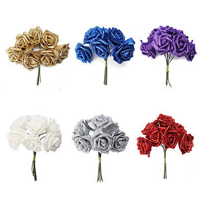 7 Foam Rose Artificial Flower Glitter Bridal Bouquet Home Wedding Decoration PK