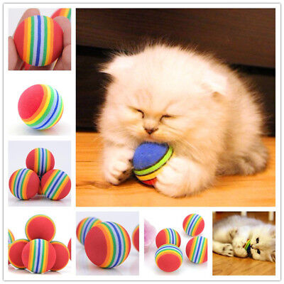 New 2Pcs Funny Alive Dog Cat Kitten Weasel Jumping Moving Rolling Pet Balls Toys
