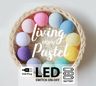 4M PASTEL RAINBOW COTTON BALL LED BATTERY STRING LIGHTS - Baby room, Kid's room