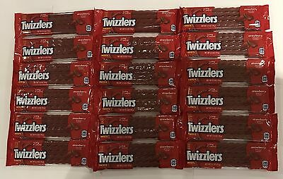 909860 BOX OF 18 x 70g PACKETS OF STRAWBERRY FLAVORED TWIZZLERS TWISTS - USA
