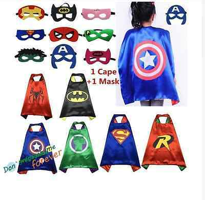 New Kids Superhero Cape & Mask Party Costume Set Superman Batman Spiderman**