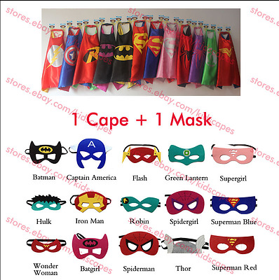 New Kids Superhero Cape & Mask Party Costume Set Superman Batman Spiderman Capes