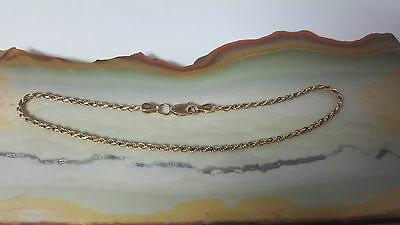 Women's 10kt Yellow Gold Rope Bracelet 9.5 inches 240mm