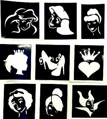9 Princess Slipper stencils top up your glitter tattoo kit face paint Air Brush