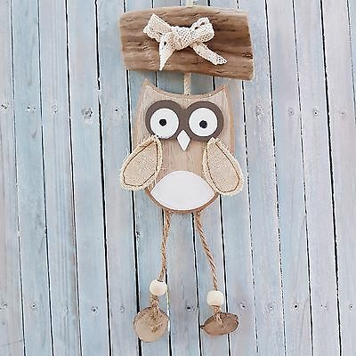 Chic Shabby Hanging Wooden Driftwood Owl Bird Decoration Plaque Gift