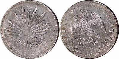 Mexico: 1892-Mo A.M. Cap & Rays Eight Reales Silver ** Choice AU **