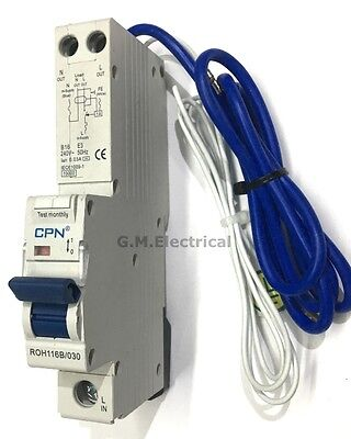 CPN CUDIS 16 AMP TYPE B 16A RCBO 30mA SINGLE POLE / PHASE ROH116B-030
