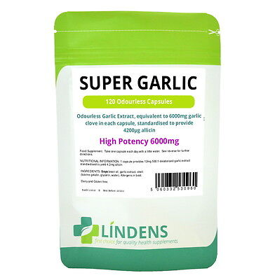 Super High Strength Garlic 6000mg 120 capsules - Odourless, oil softgels Strong