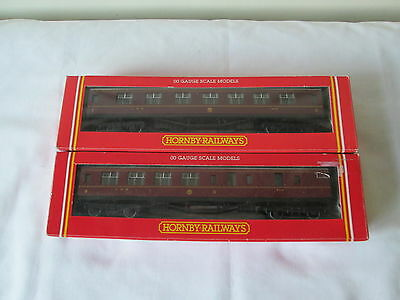 2 x Hornby OO Gauge LMS Crimson Coaches
