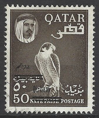 QATAR 1966 50d on 50np sepia surcharge, superb used, SG#146