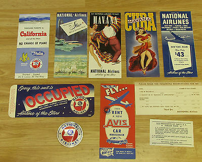 National Airlines DC-6 lot of Brochure timetable coupon sticker Rent car