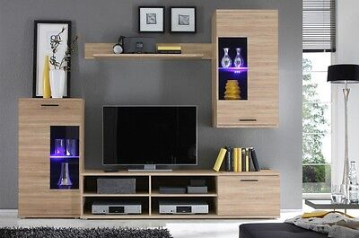 Brand new wall unit in oak sonoma colour, tv unit,2x cabinets, shelf, LED lights