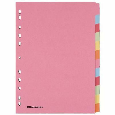 Office Depot Manilla punched Dividers A4 12 Part Multi Colour