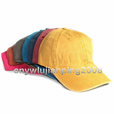 8dc08f080d8 Solid Plain Washed Style Baseball Ball Cap Hat 100% Cotton Adjustable