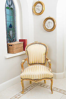 French Louis Armchair Gold Stripe Shabby Chic Bedroom Hallway Wooden Frame Chair