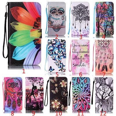 Flip Stand PU Card Leather Wallet Phone Case Cover Patterned For Sony LG Huawei