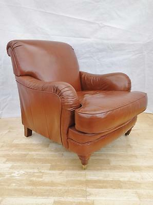 Antique Style Howard & Sons Design Tan Leather Club Arm Chair