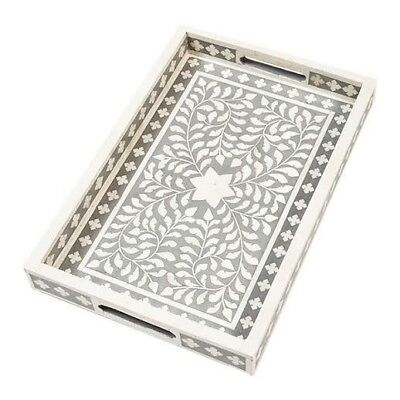 Indian Bone Inlaid Serving Tray, Gray