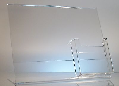 """25 Acrylic 11"""" x 8-1/2"""" Slanted Sign Holders with 4x9 Tri-Fold Brochure Holder"""