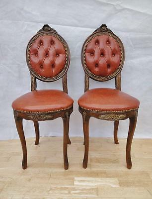 Pair of French Antique Louis Style Red Leather Walnut Hall Chairs