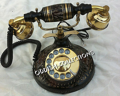 Antique Vintage Rotary Brass Engraved Dial Working Telephone French Victorian