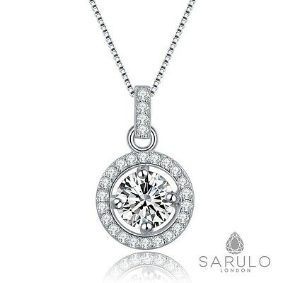 Halo Pendant 925 Sterling Silver Sarulo Necklace Chain Jewellery Ladies