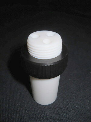 Chemglass 24/40 Joint Custom 3-Port M6-1.0 Thread PTFE Hollow Stopper & Nut