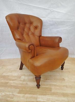 Victorian Antique Style Mahogany & Tan Leather Buttoned Lounge Armchair