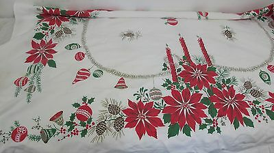 Vintage Christmas Tablecloth Ornaments Poinsettia Candles Pine Cones