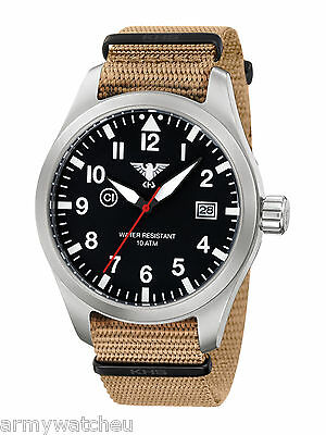 KHS Tactical Watches Airleader Pilot Watch Date Army Strap C1-Ligh KHS.AIRS.NT