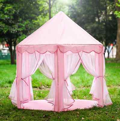 Princess Castle Tent Play House Large Kids Canopy Room Fairy Pink Girl Teepee