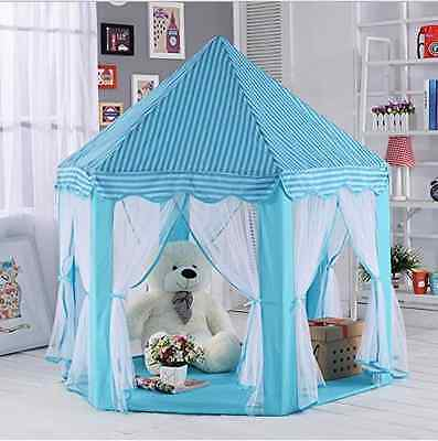 Princess Castle Tent Play House Large Kids Canopy Blue Girl Boy Indoor Outdoor