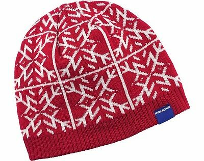 OEM Polaris Racing Red & White Snowflake Knit Beanie Winter Hat 2866193