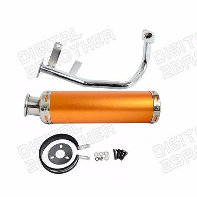 Exhaust System Gold New For Gy6 50cc QMB139 Chinese Scooter