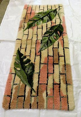 "Large Finished Homemade Latch Hook Rug, 69"" x 28"" Pink, Cream and Green Leaves"
