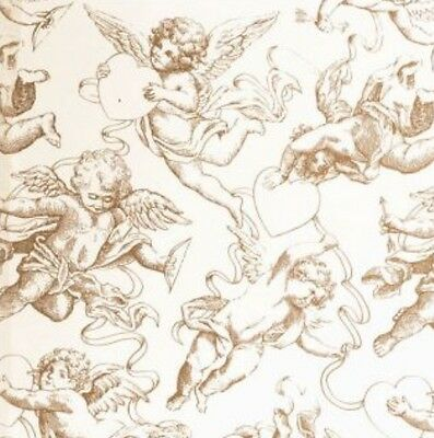 Christmas Cherubs Angels Gift Wrap Wrapping Paper Gold Cream Ivory Tissue Paper