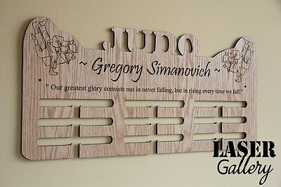 "Large JUDO 24x12"" Wooden Medal Hanger, Personalized Laser Cut Medal Display Rack"