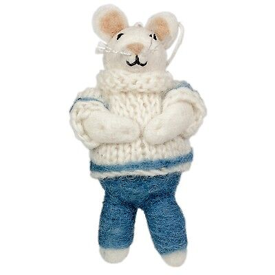 Fairyland Mouse Blue & White Sweater Holiday Ornament Felted Wool Handmade NEW
