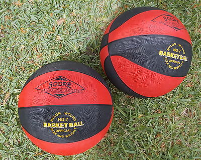 2 Score Size 7 Rubber Basketballs with  Butyl Bladders Official Size and Weight
