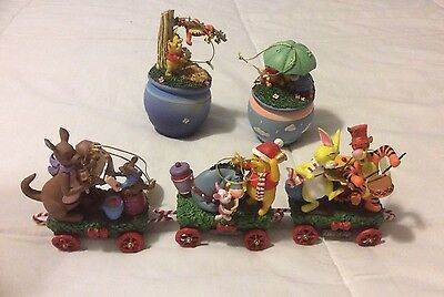 Pooh And Friends Honeypot Express Christmas Train Set Of 3 & Bradford Ornaments