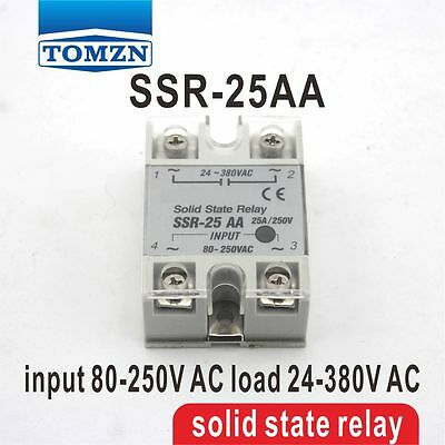 25AA SSR input 80-250V AC load 24-380V AC single phase AC solid state relay