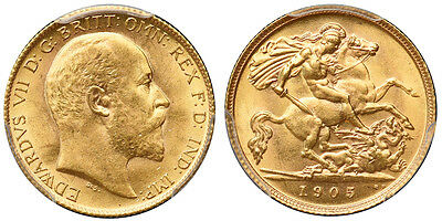 Great Britain 1905 Gold Half Sovereign PCGS MS64